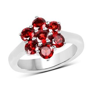 Malaika Sterling Silver 2 1/4ct TW Garnet Ring