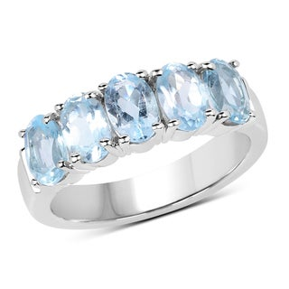 Malaika Sterling Silver 2 3/5ct TW Blue Topaz Ring