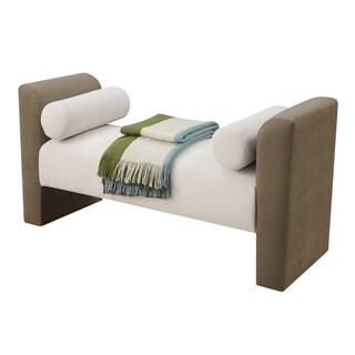 Convenience Concepts Designs4Comfort Monroe Tan Wood/Microfiber Fabric Lounge Ottoman