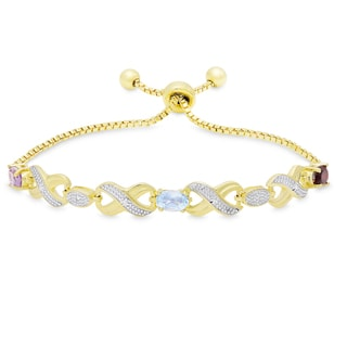 Dolce Giavonna Gold Overlay Multi Gemstone and Diamond Accent Adjustable 'XO' Design Bolo Bracelet