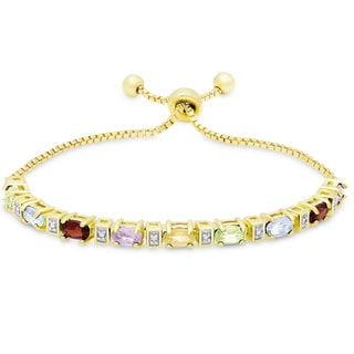Dolce Giavonna Gold Overlay Multi Gemstone and Diamond Accent Adjustable Oval Bolo Bracelet