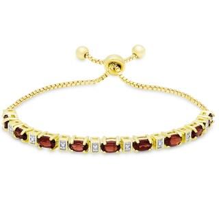 Dolce Giavonna Gold Overlay Garnet and Diamond Accent Adjustable Slider Bracelet