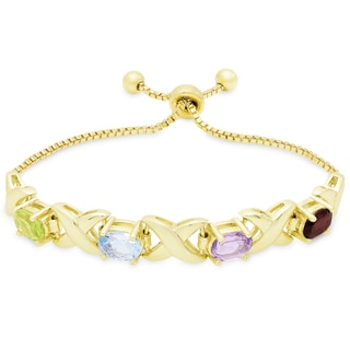Dolce Giavonna Gold Overlay Multi Gemstone Adjustable 'XO' Design Bolo Bracelet