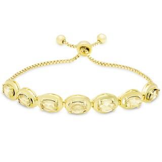 Dolce Giavonna Gold Overlay Citrine Oval Adjustable Slider Bracelet