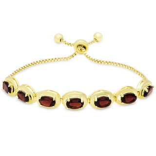 Dolce Giavonna Gold Overlay Garnet Oval Adjustable Slider Bracelet