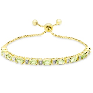 Dolce Giavonna Gold Overlay Peridot and Diamond Accent Adjustable Oval Bolo Bracelet