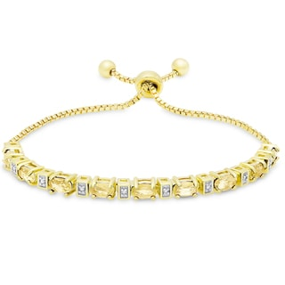 Link to Dolce Giavonna Gold Overlay Citrine and Diamond Accent Adjustable Slider Bracelet Similar Items in Bracelets