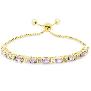 Dolce Giavonna Gold Overlay Amethyst and Diamond Accent Adjustable Oval Bolo Bracelet