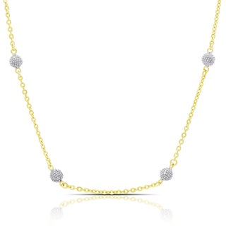 Finesque Gold Over Silver or Sterling Silver Diamond Accent Necklace