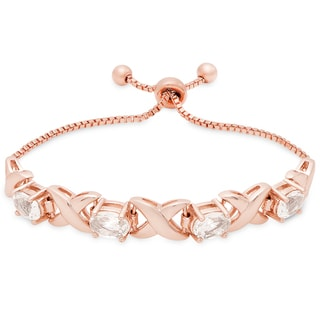 Dolce Giavonna Rose Gold Overlay Morganite Adjustable Slider Bracelet