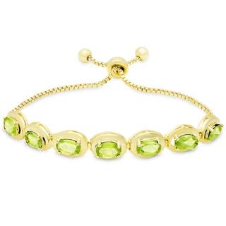 Dolce Giavonna Gold Overlay Peridot Oval Adjustable Slider Bracelet