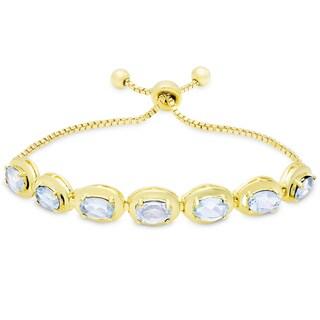 Dolce Giavonna Gold Overlay Blue Topaz Oval Adjustable Slider Bracelet