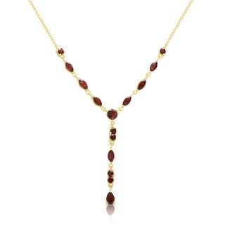 Dolce Giavonna Gold Over Sterling Silver Garnet 'Y' Necklace