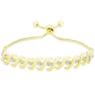Finesque Gold Overlay Diamond Accent 'SO' design Adjustable Slider Bracelet (I-J, I2-I3)