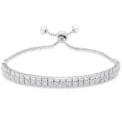 Finesque Gold and Silver Overlay Diamond Accent Line Adjustable Slider Bracelet