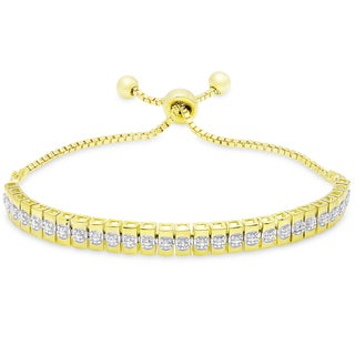 Finesque Gold and Silver Overlay Diamond Accent Line Adjustable Slider Bracelet (I-J, I2-I3)