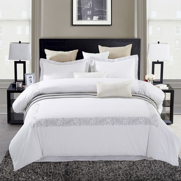 Superior Moonlawn Embroidered Cotton Duvet Cover Set