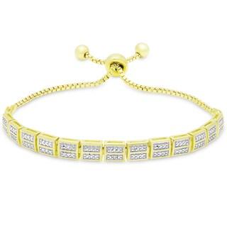 Finesque Gold Ovelay Diamond Accent Adjustable Bar Design Slider Bracelet (I-J, I2-I3)