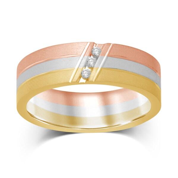 Unending Love Men's 10k Tri-Color Gold .06-carat Diamond 3-stone Machine-set Band