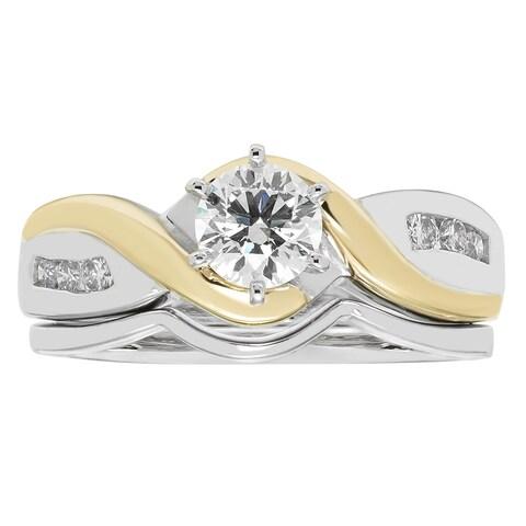 Boston Bay Diamonds 14k Two-tone Gold 5/8ct TDW Diamond Engagement Ring and Wedding Band - White