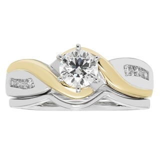 Boston Bay Diamonds 14k Two-tone Gold 5/8ct TDW Diamond Engagement Ring and Wedding Band - White