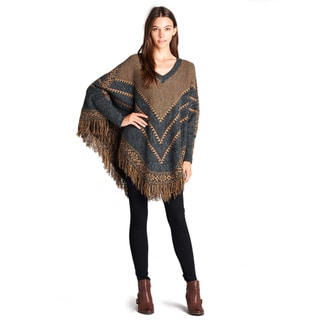Orange Creek Brown Wool Chevron Print Knit Poncho Sweater
