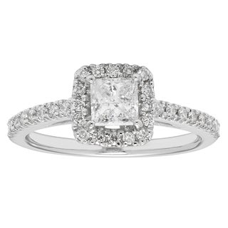 Boston Bay 14k White Gold 7/8ct TDW Princess-cut Diamond Square Halo Ring