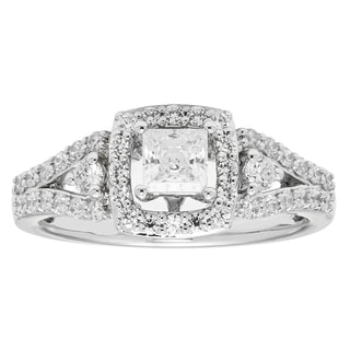 Boston Bay Diamonds 14k White Gold 1/2ct TDW Princess-cut Diamond with Halo and Split Shank Ring (H-I, SI2-I1)