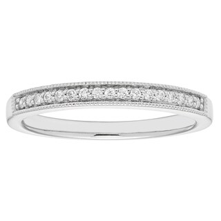 Boston Bay Diamonds 14k White Gold 1/10ct TDW Diamond with Milgrain Wedding Band