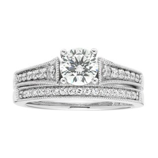 Boston Bay Diamonds 14K Gold 4/5 TDW Millgrain Detail Diamond Bridal Set