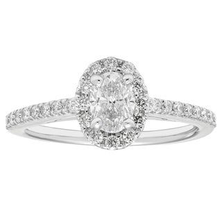 Boston Bay Diamonds 14k White Gold 5/6ct TDW Diamond Halo Ring
