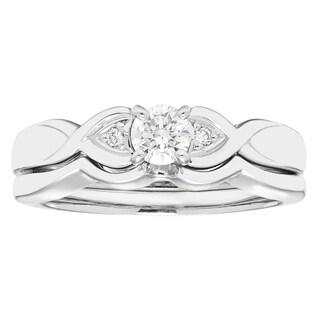 Boston Bay Diamonds 14k White Gold 1/4ct TDW Diamond Bridal Set