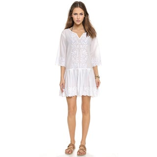 PilyQ Women's Cristina White 3/4-sleeve Cover-up Dress