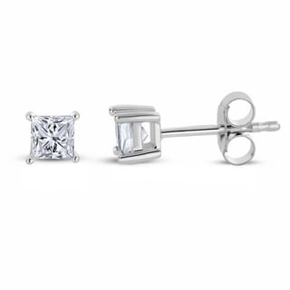 Montebello Jewelry 14k White Gold 1/3ct TDW Princess-cut White Diamond Stud Earrings (H-I, I1-I2)