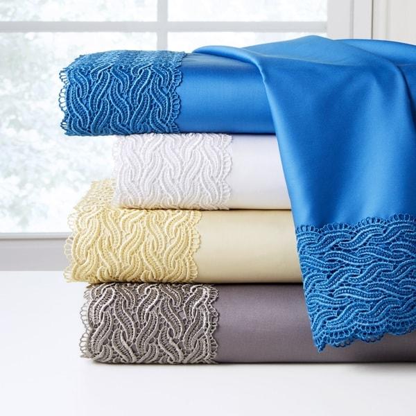 Pointehaven 300 Thread Count Deep Pocket Oversized Cotton Lace Sheet Set