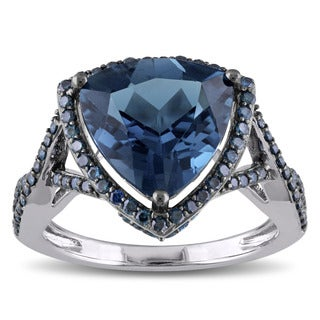 Miadora Signature Collection 14k Blue Rhodium Plated White Gold Trilliant-cut London Blue Topaz 1/2ct TDW Blue Diamond Halo Ring