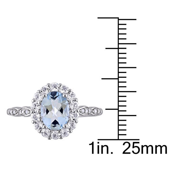 Miadora 14k White Gold Oval-cut Aquamarine White Topaz and Diamond Accent Halo Engagement Ring