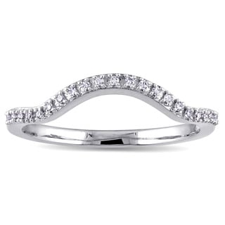 Miadora 10k White Gold Diamond Accent Contour Wedding Band