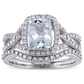Miadora Signature Collection 10k White Gold Cushion-cut Aquamarine and 1/4ct TDW Diamond Bridal Ring Set (G-H, I1-I2)