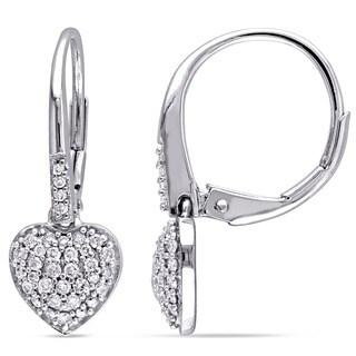 Miadora 10k White Gold 1/3ct TDW Diamond Heart Cluster Earrings (G-H, I2-I3)