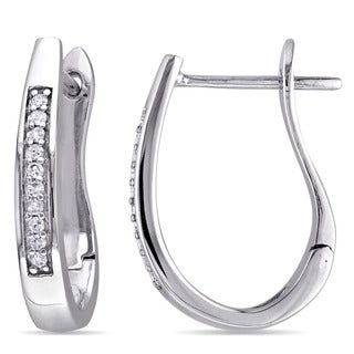 Miadora 10k White Gold 1/10ct TDW Diamond Hoop Earrings (G-H, I2-I3)
