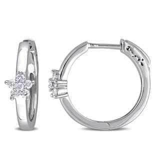 Miadora 10k White Gold 1/4ct TDW Diamond Flower Hoop Earrings (G-H, I2-I3)