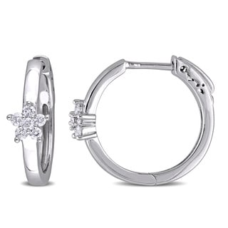 Miadora 10k White Gold 1/4ct TDW Diamond Flower Hoop Earrings