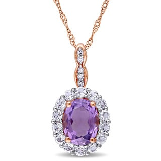 Miadora 14k Rose Gold Oval-cut Amethyst White Topaz and Diamond Accent Halo Necklace