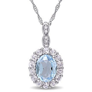 Miadora 14k White Gold Oval-cut Sky Blue Topaz White Topaz and Diamond Accent Halo Necklace