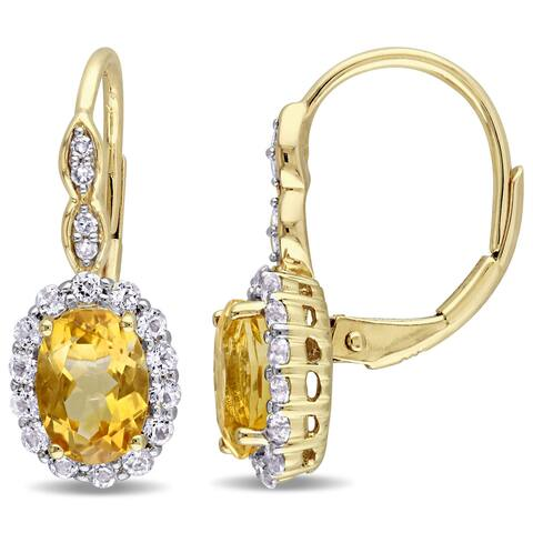 Miadora 14k Yellow Gold Oval-cut Citrine White Topaz and Diamond Accent Halo Leverback Earrings