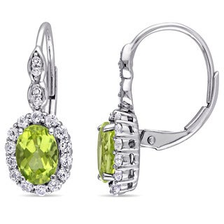 Miadora 14k White Gold Oval-cut Peridot White Topaz and Diamond Accent Halo Leverback Earrings
