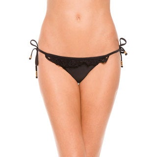 PilyQ Lace Diva Black Elastic/Polyamide Tie-side Ruffle Teeny Bikini Bottom