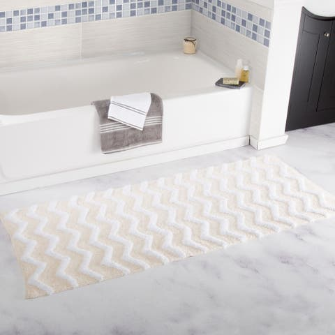 Windsor Home 24 x 60-inch 100 Cotton Chevron Bathroom Mat