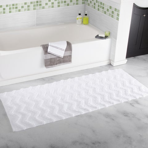 Windsor Home 24 x 60-inch 100 Cotton Chevron Bathroom Mat - 24 x 60